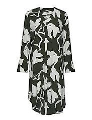 HORISONTTI KATLEIJA Dress - GREEN, WHITE