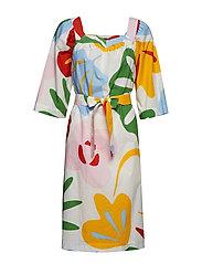 AINAINEN VIIDAKKO Dress - OFF-WHITE, RED, GREEN