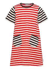AHDE TASARAITA DRESS - ORANGE RED, LIGHT BEIGE