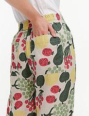 Marimekko - KUKKINUT PIENI TORI TROUSERS - bukser med brede ben - green, rose, yellow - 4