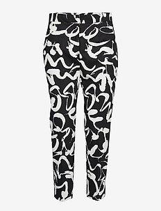 MARTHA HARHA Trousers - BLACK, OFF-WHITE