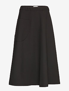 LOUHI SOLID SKIRT - midinederdele - black