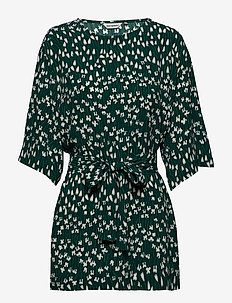 EINE TUULAHDUS Tunic - tunikaer - dark green, green, off-white