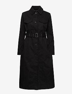 JUTTU SOLID COAT - trenchcoats - black