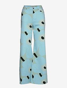 LUOTAUS UNIKKO - szerokie dżinsy - green, blue, turquoise