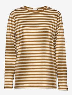 PITKÄHIHA - gestreifte t-shirts - brown, beige