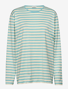 PITKÄHIHA - striped t-shirts - turquoise, white