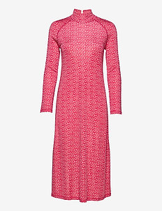 LEIRI UNIKKO DRESS - midi dresses - beige, pink