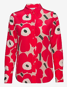 TOIVEIKAS PIENI UNIKKO II SHIRT - long sleeved blouses - beige, pink, dark green