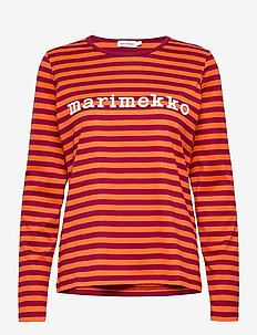 LOGO MARI SHIRT - topy z długimi rękawami - dark red, orange, white