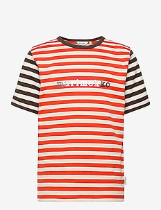 LEUTO TASARAITA T-SHIRT - krótki rękaw - orange red, light beige