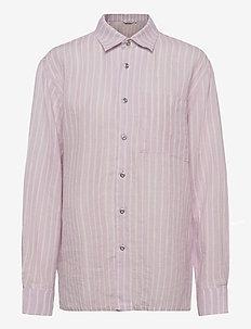 JOKAPOIKA 2017 LINEN SHIRT - long-sleeved shirts - lavender, off-white