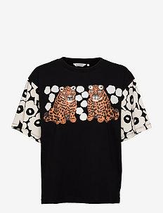KARHUNPUTKI KAKSOSET PLACEMENT SHIRT - t-shirts - black,off white,orange brown