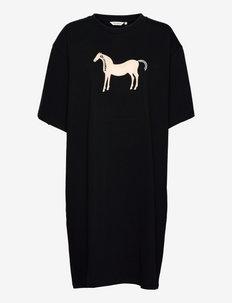 LOISTOKULTA MUSTA TAMMA DRESS - hverdagskjoler - black, light beige, light blue