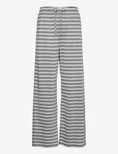 HILJAINEN TASARAITA LIGHT TROUSERS - uitlopende broeken - grey, light grey melange
