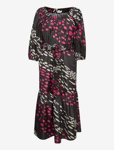 LEHTONIITTY KOTTARAINEN DRESS - avondjurken - black, sand, fuchsia