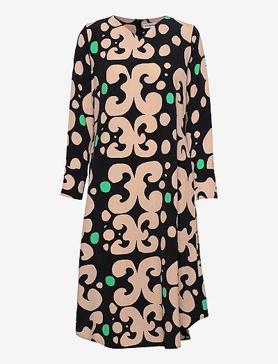 KEHO PIENI KEIDAS DRESS - midi dresses - black, beige, green