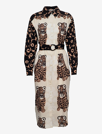 SAVANNILLA DRESS - skjortekjoler - brown, black, off-white