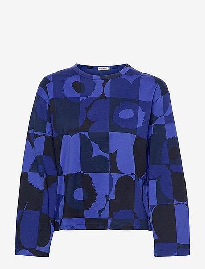 LETOT RUUTU-UNIKKO SHIRT - long sleeved blouses - blues, black
