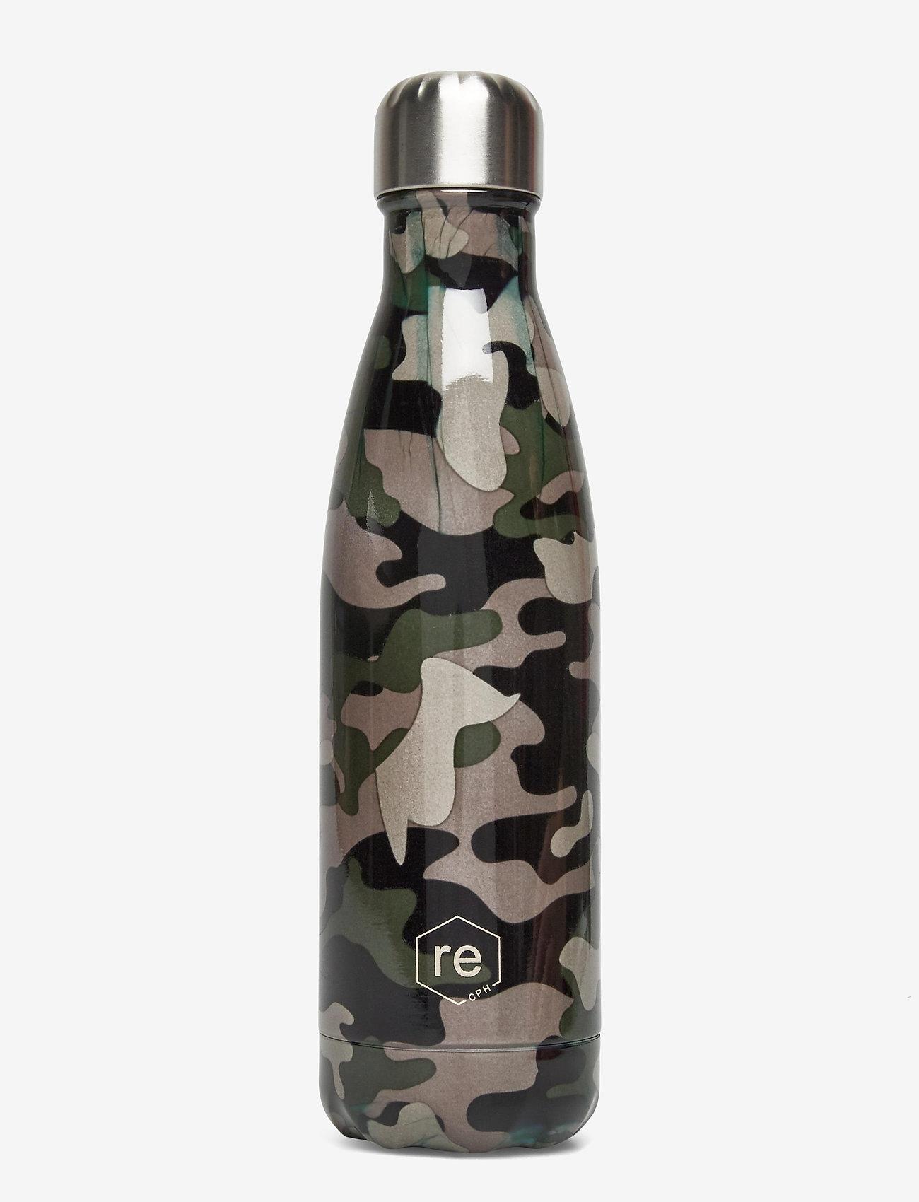 Markberg - Rebottle 500 ml, Printed - vannflasker og termoser - camouflage green w/silver - 0