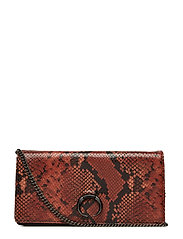 Ilrida Clutch, Snake Print - BURNT ORANGE