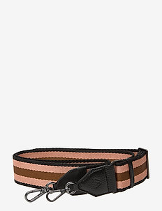 Finley Guitar Strap, Striped - BLACK W/BLACK+PEACH+MOCCA