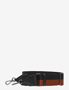 Finley Guitar Strap, Striped - taskestropper - black w/chestnut+black