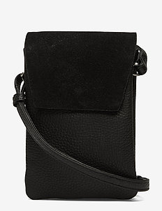 Mara Crossbody Bag, Suede Mix - BLACK