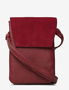 Mara Crossbody Bag, Suede Mix - BURGUNDY