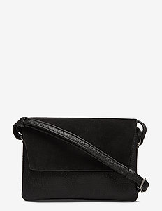Rayna Crossbody Bag, Suede Mix - BLACK