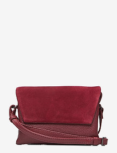 Rayna Crossbody Bag, Suede Mix - BURGUNDY