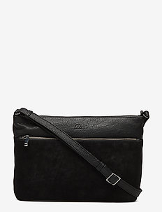 Tiana Crossbody Bag, Suede Mix - BLACK