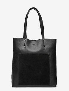 Antonella Shopper, Suede Mix - shoppers - black