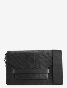 Arabella Crossbody Bag, Snake - BLACK W/BLACK