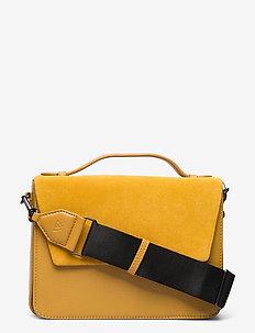 Luna Crossbody Bag, Suede Mix - håndtasker - amber w/black