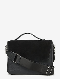 Luna Crossbody Bag, Suede Mix - BLACK