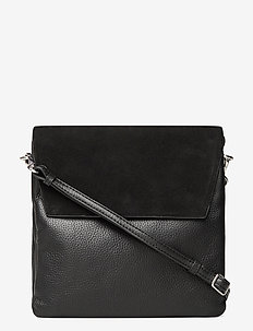 Gretha Crossbody Bag, Suede Mi - shoulder bags - black