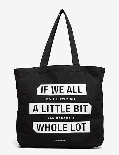 "Isidora ""Do a little"" - tote bags - black w/white print"