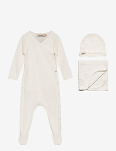 New Born Gift Box - suit, hat and blanket - langärmelig - gentle white