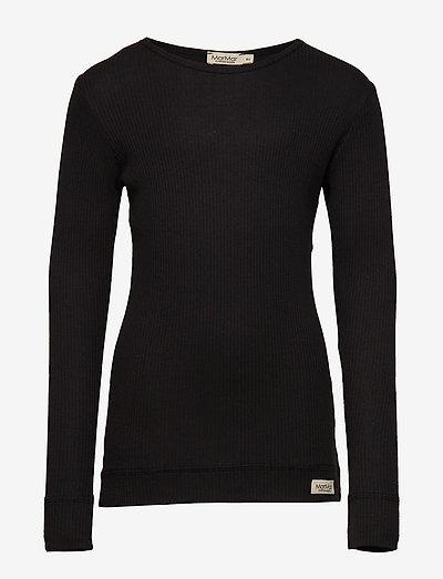 Plain Tee LS - langærmede t-shirts - black