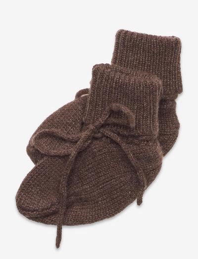Booties - babystrikstøvler - dark brown mel.