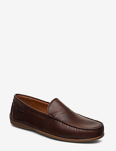 PLAIN DRIVING LOAFER LTH - DK BROWN CRAZY