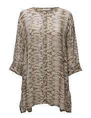 Idona blouse A-shape 3/4 slv - KHAKI ORG
