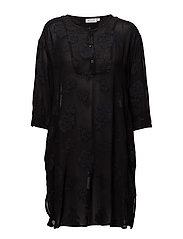 Genna tunic straight 3/4 slv - BLACK