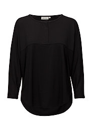 Berit top straight 3/4 slv - BLACK
