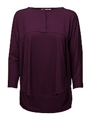 Berit top straight 3/4 slv - BURGUNDY