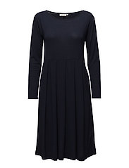 Noela dress fitted long slv - NAVY