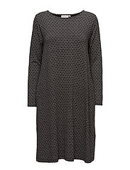Nitta dress a-shape long slv - BLACK ORG