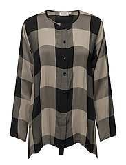 Inina blouse A-shape long slv - KHAKI ORG