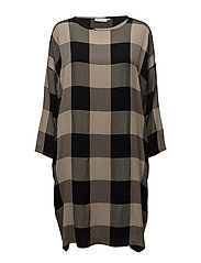 Noa dress oversize long slv - KHAKI ORG
